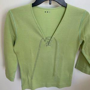 Three Dots 3/4 sleeve shirt green size Large